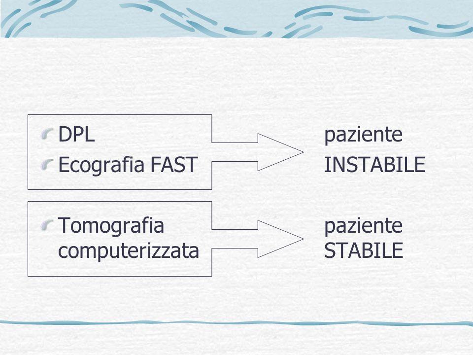 DPL paziente Ecografia FAST INSTABILE.