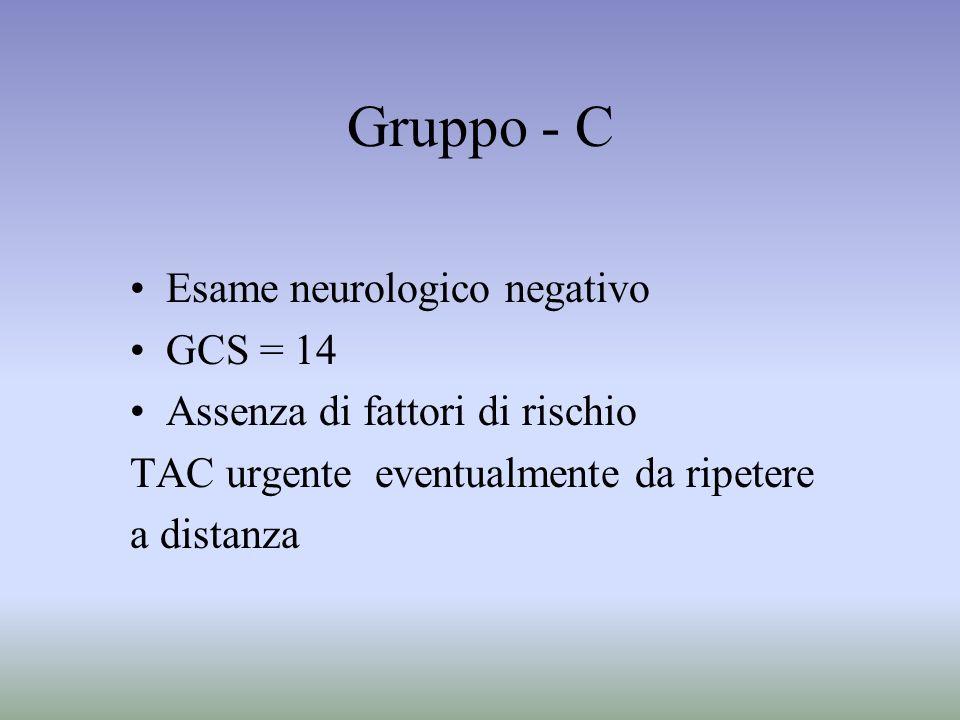 Gruppo - C Esame neurologico negativo GCS = 14