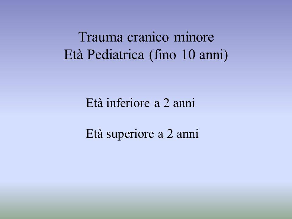 Trauma cranico minore Età Pediatrica (fino 10 anni)