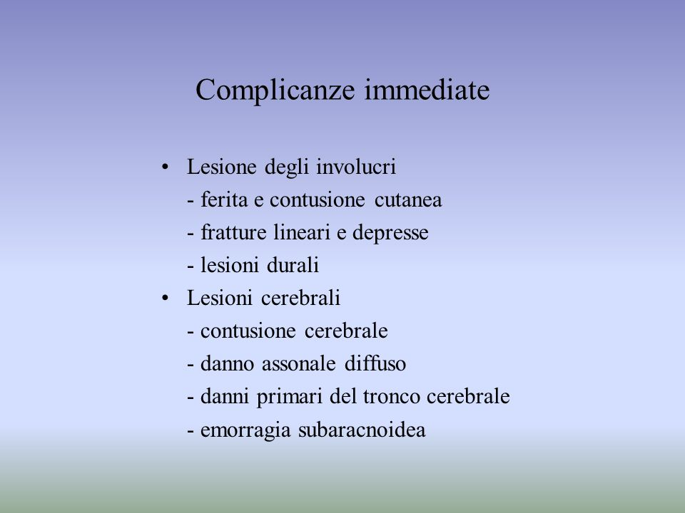 Complicanze immediate