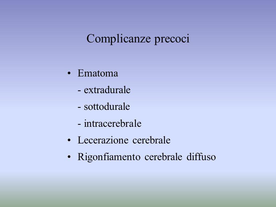 Complicanze precoci Ematoma - extradurale - sottodurale