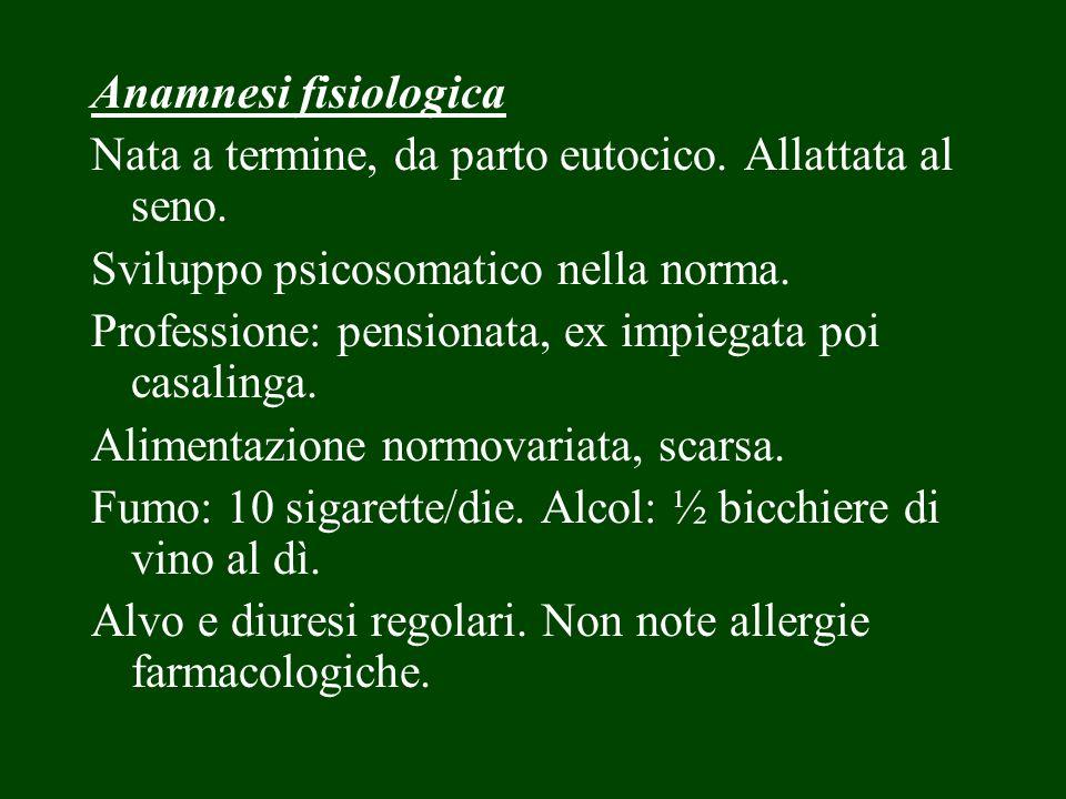 Anamnesi fisiologica Nata a termine, da parto eutocico. Allattata al seno. Sviluppo psicosomatico nella norma.