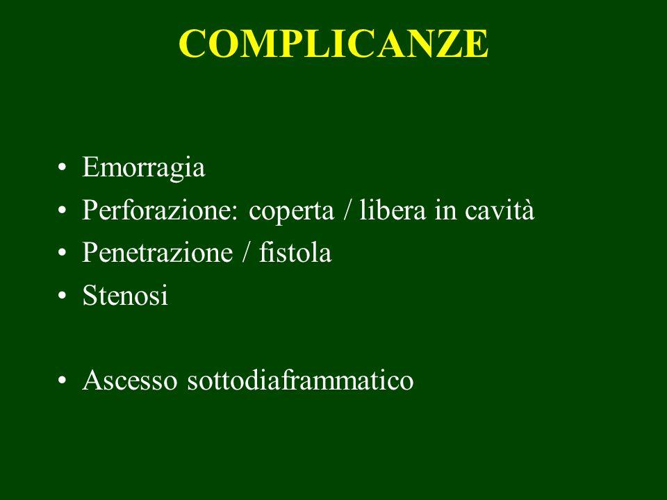 COMPLICANZE Emorragia Perforazione: coperta / libera in cavità