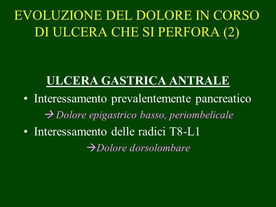EVOLUZIONE DEL DOLORE IN CORSO DI ULCERA CHE SI PERFORA (2)