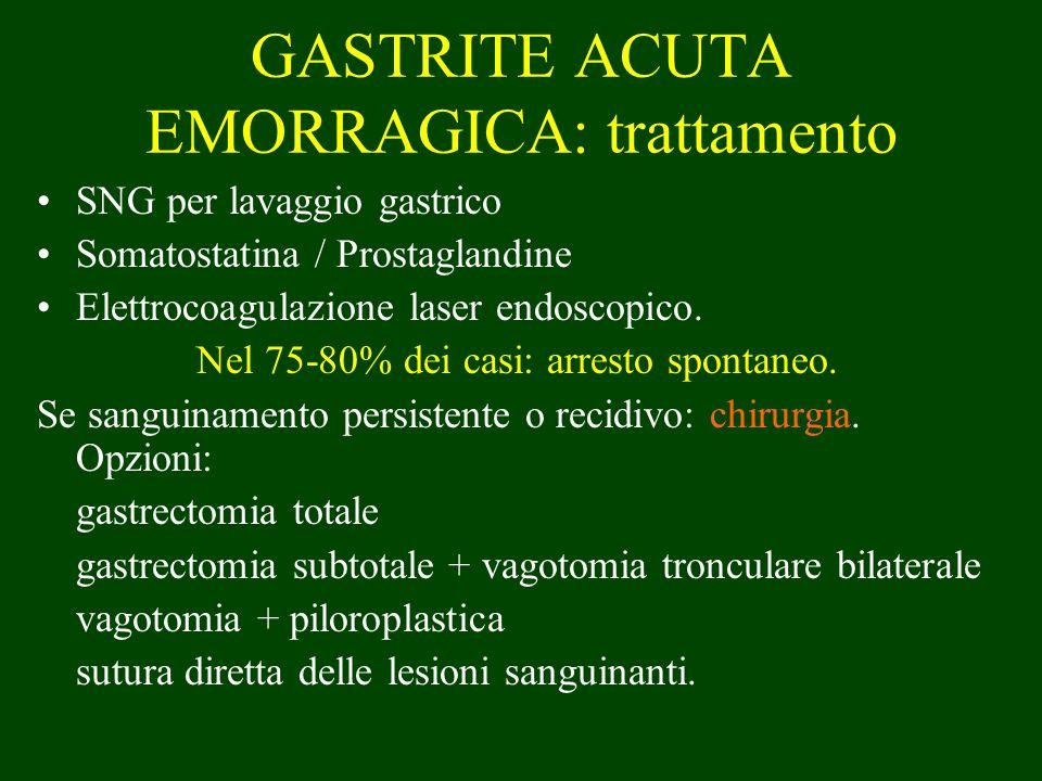 GASTRITE ACUTA EMORRAGICA: trattamento