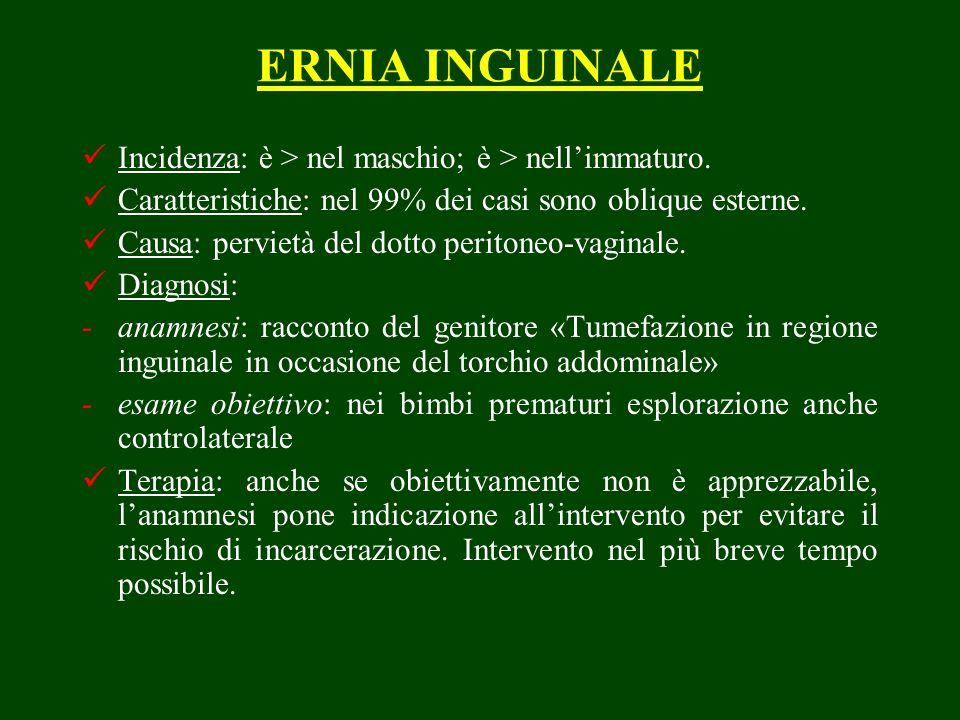 ERNIA INGUINALE Incidenza: è > nel maschio; è > nell'immaturo.