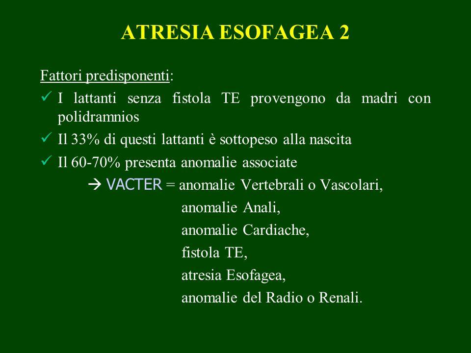 ATRESIA ESOFAGEA 2 Fattori predisponenti: