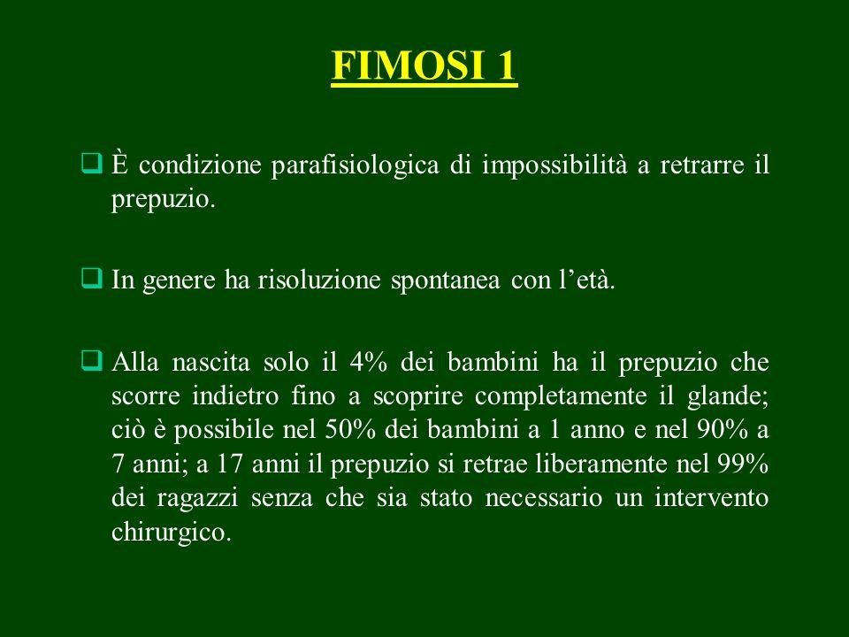 FIMOSI 1 È condizione parafisiologica di impossibilità a retrarre il prepuzio. In genere ha risoluzione spontanea con l'età.