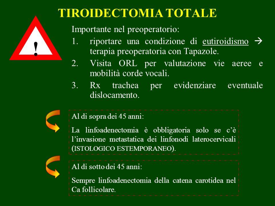 ! TIROIDECTOMIA TOTALE Importante nel preoperatorio: