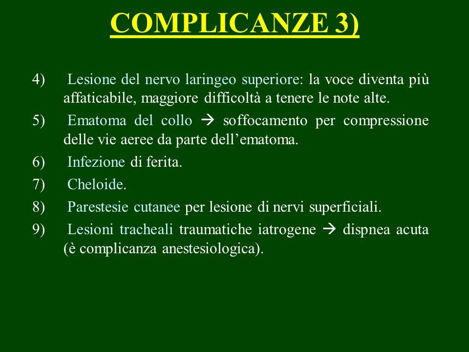 COMPLICANZE 3) Lesione del nervo laringeo superiore: la voce diventa più affaticabile, maggiore difficoltà a tenere le note alte.