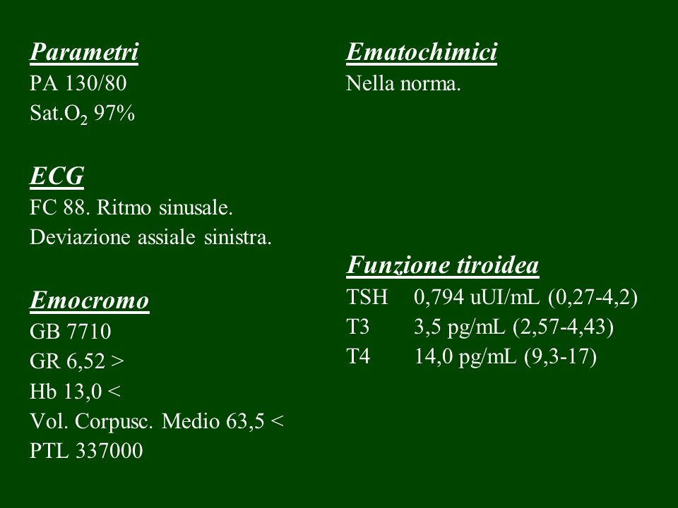 Parametri ECG Emocromo Ematochimici Funzione tiroidea PA 130/80
