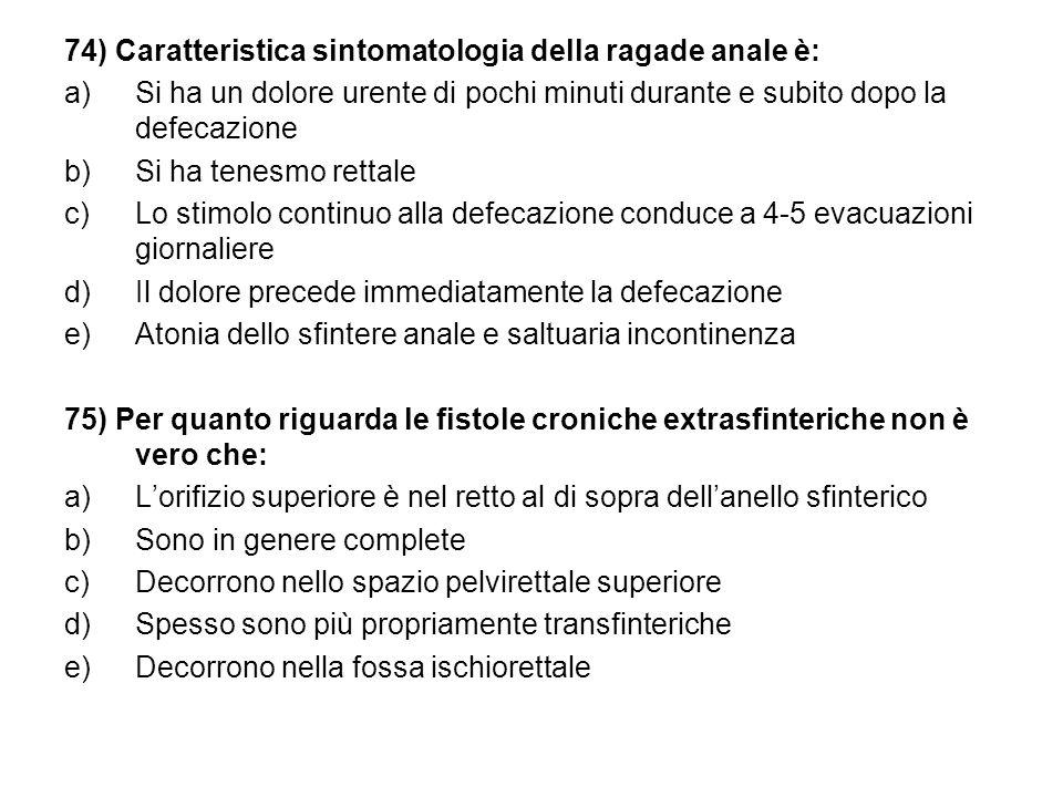 74) Caratteristica sintomatologia della ragade anale è: