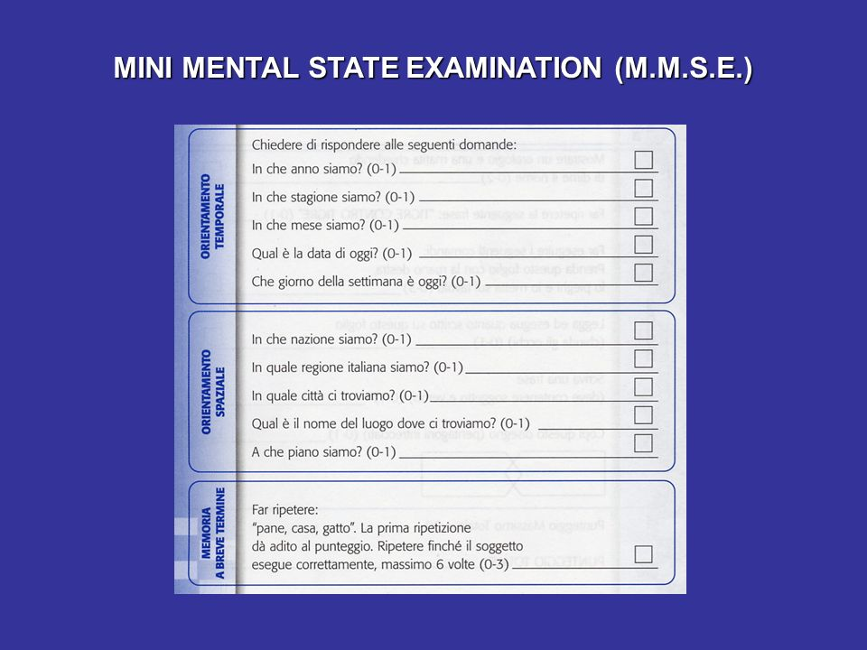 MINI MENTAL STATE EXAMINATION (M.M.S.E.)