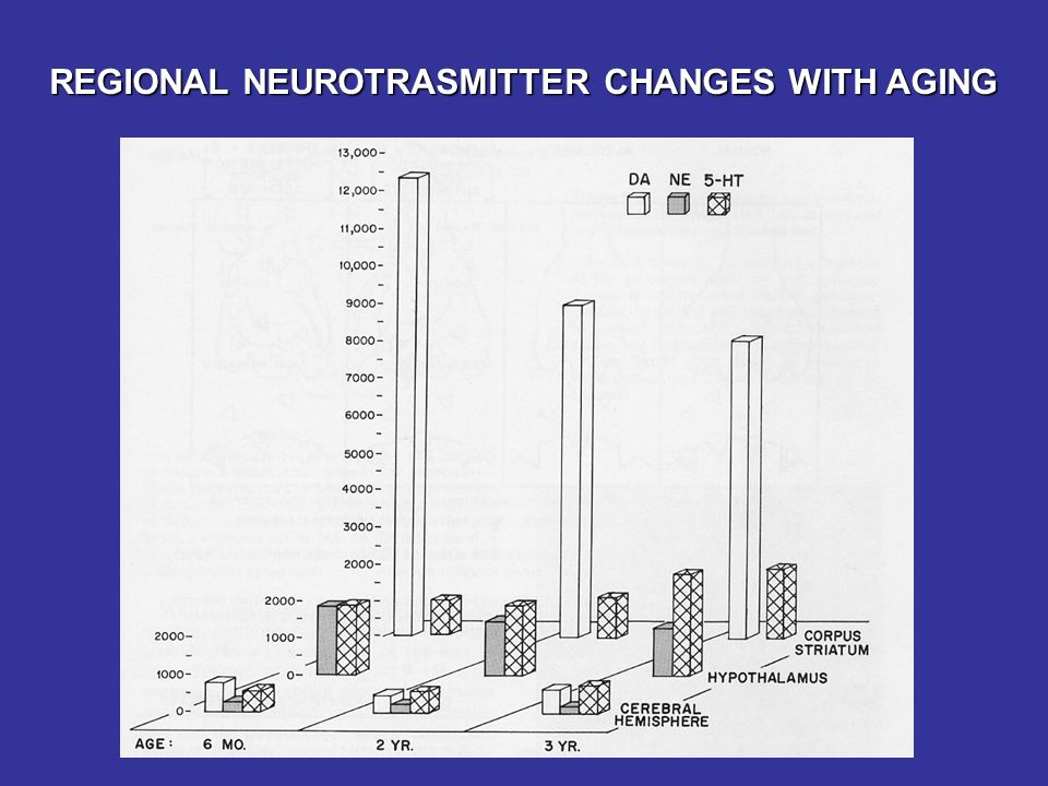 REGIONAL NEUROTRASMITTER CHANGES WITH AGING
