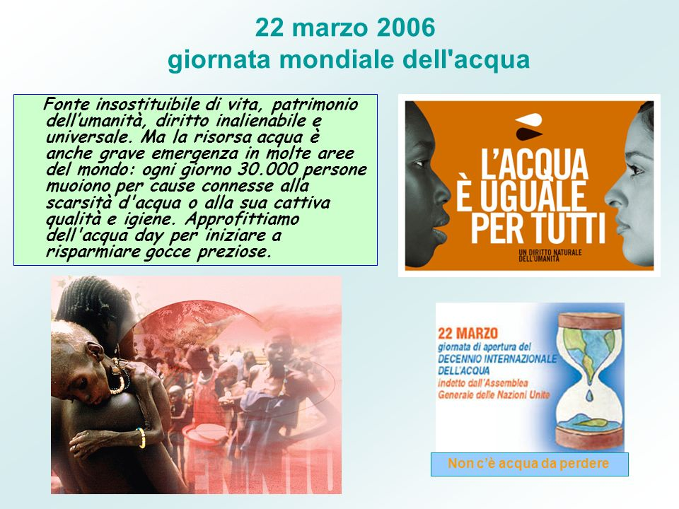 22 marzo 2006 giornata mondiale dell acqua