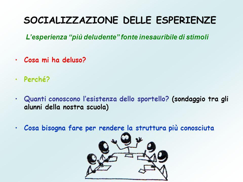 SOCIALIZZAZIONE DELLE ESPERIENZE