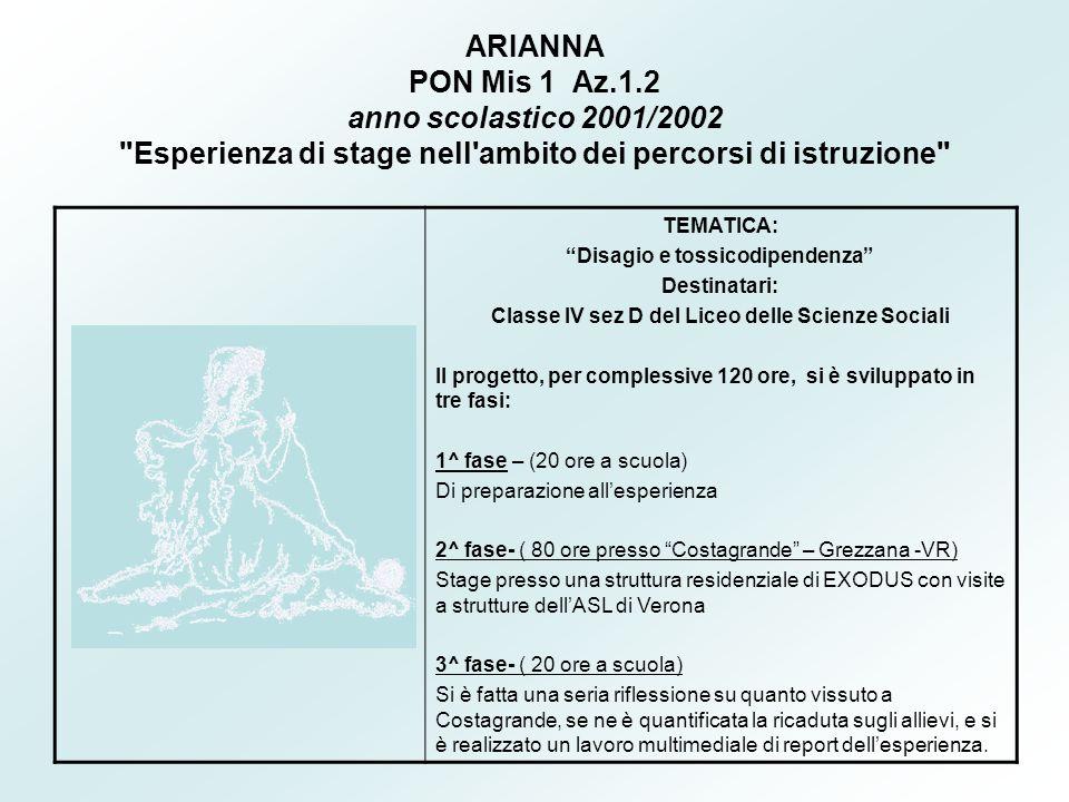 ARIANNA PON Mis 1 Az.1.2 anno scolastico 2001/2002 Esperienza di stage nell ambito dei percorsi di istruzione