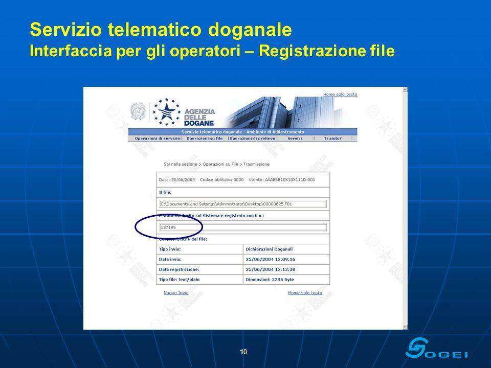 Servizio telematico doganale Interfaccia per gli operatori – Registrazione file