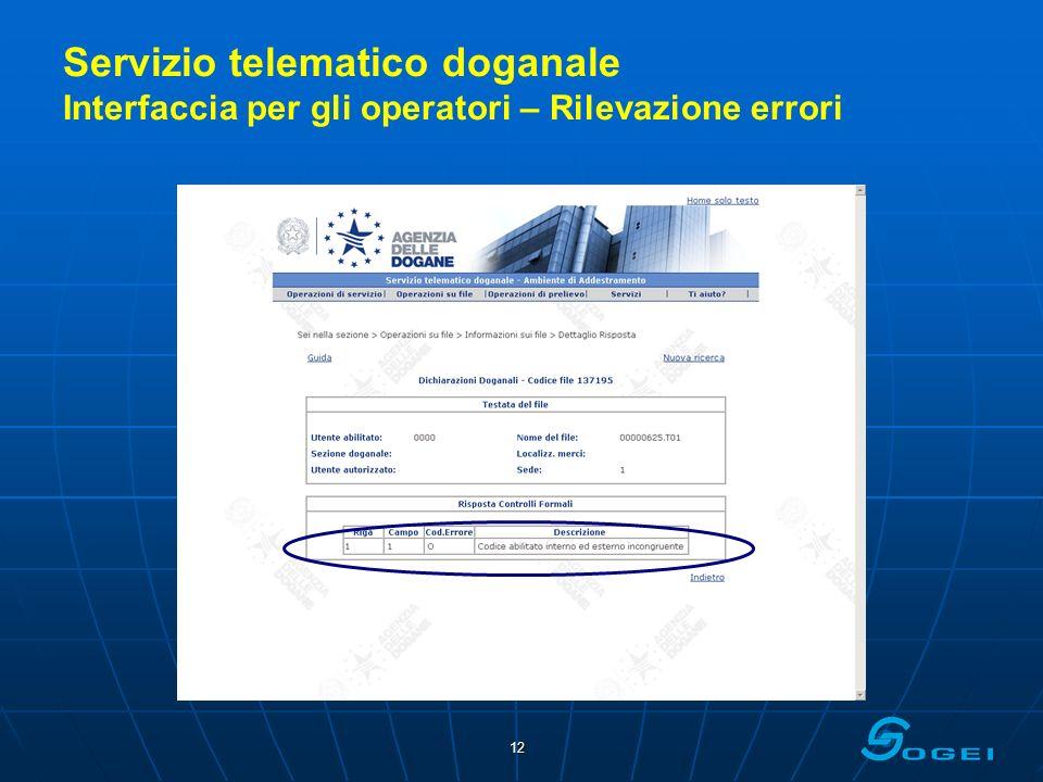 Servizio telematico doganale Interfaccia per gli operatori – Rilevazione errori