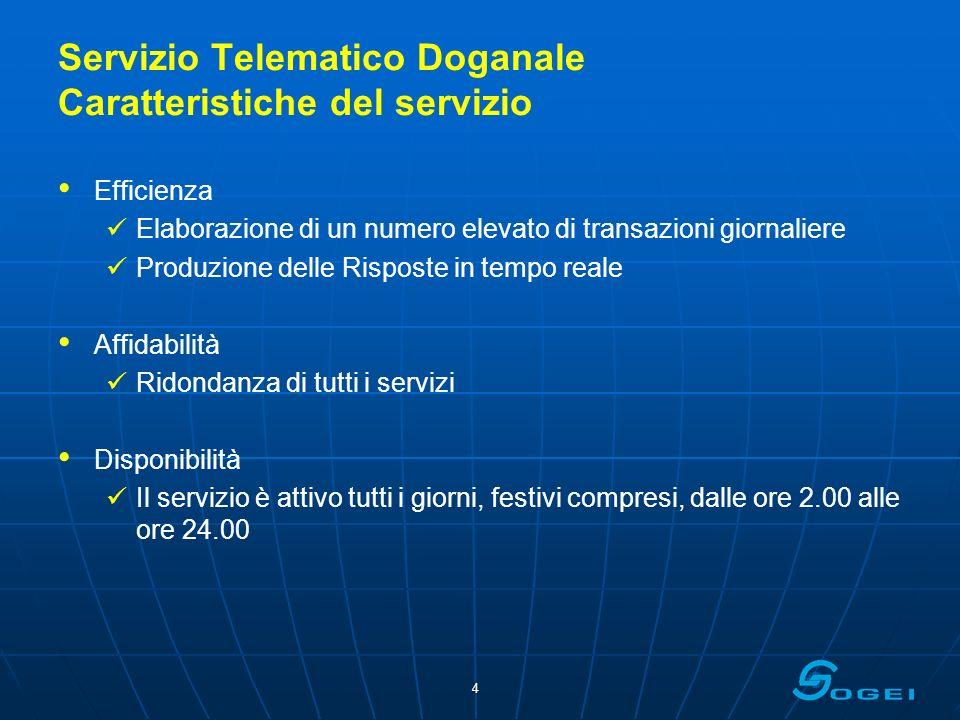 Servizio Telematico Doganale Caratteristiche del servizio