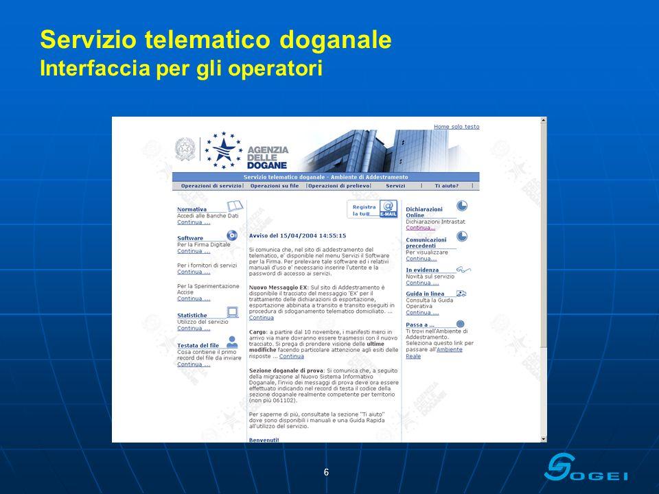 Servizio telematico doganale Interfaccia per gli operatori