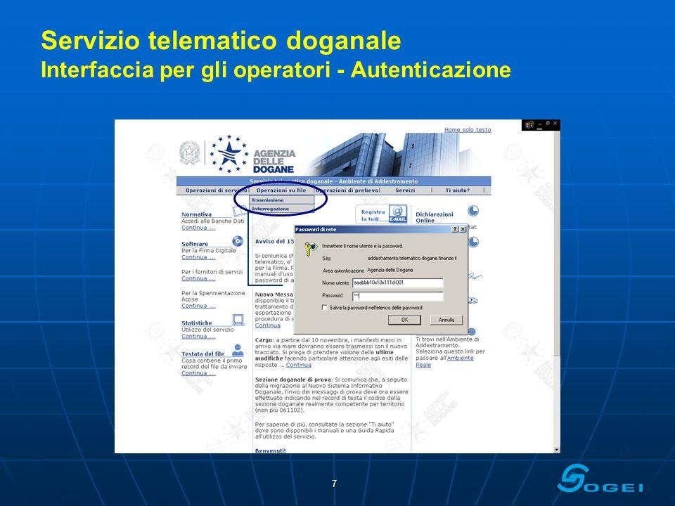 Servizio telematico doganale Interfaccia per gli operatori - Autenticazione