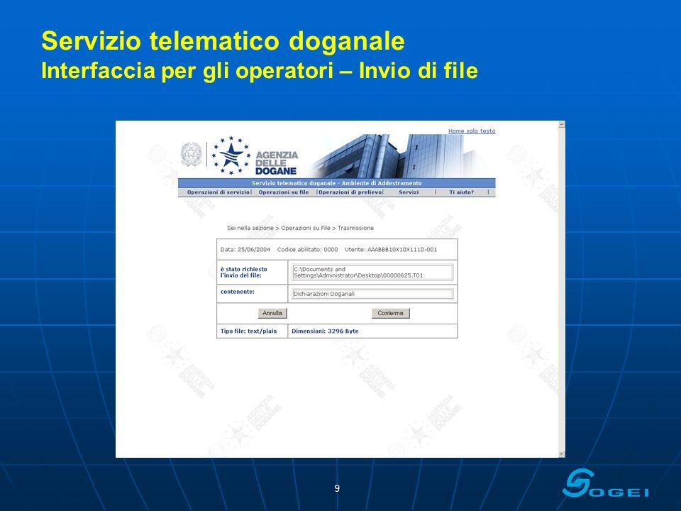Servizio telematico doganale Interfaccia per gli operatori – Invio di file