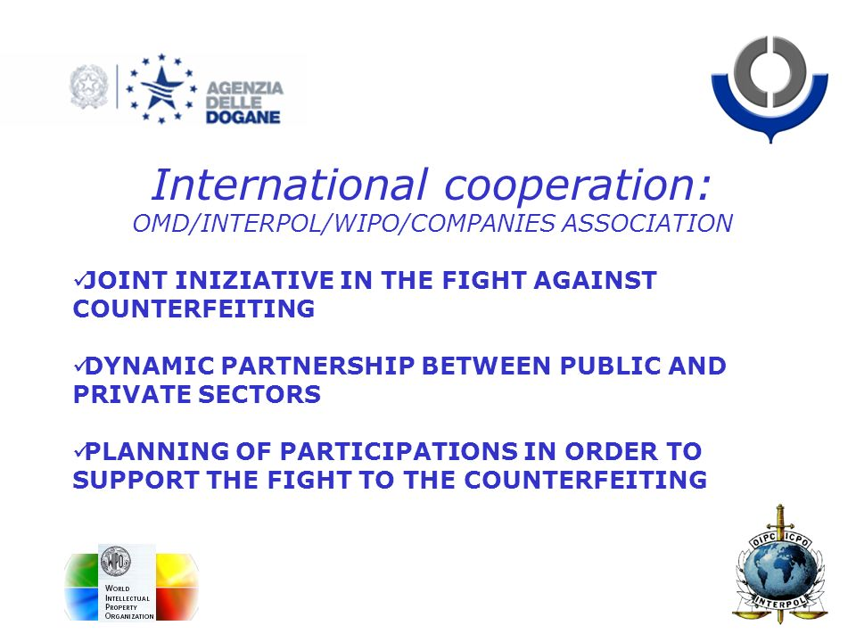 International cooperation: