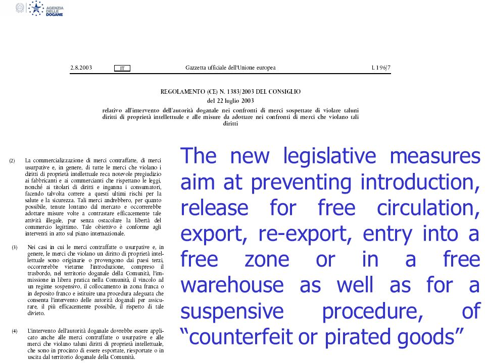 The new legislative measures aim at preventing introduction, release for free circulation, export, re-export, entry into a free zone or in a free warehouse as well as for a suspensive procedure, of counterfeit or pirated goods