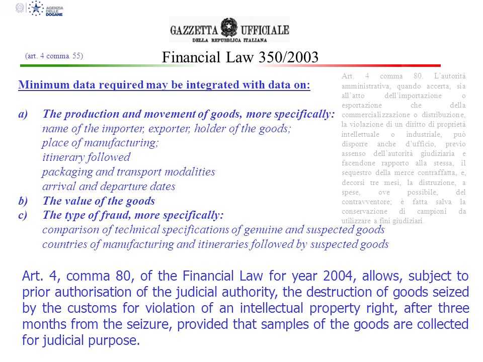 Financial Law 350/2003 (art. 4 comma 55)