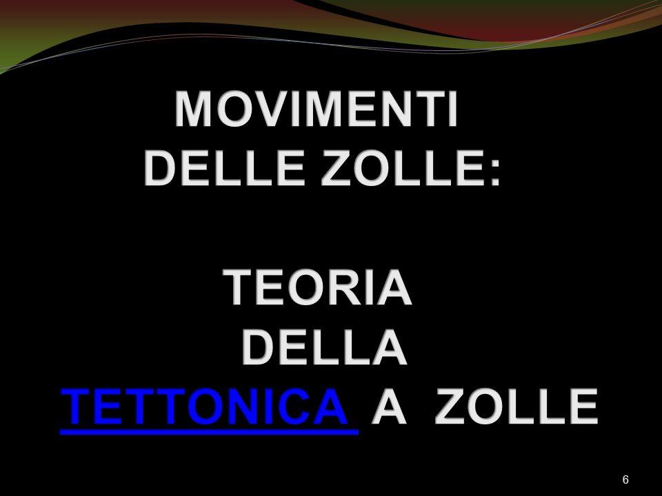 MOVIMENTI DELLE ZOLLE: TEORIA DELLA TETTONICA A ZOLLE