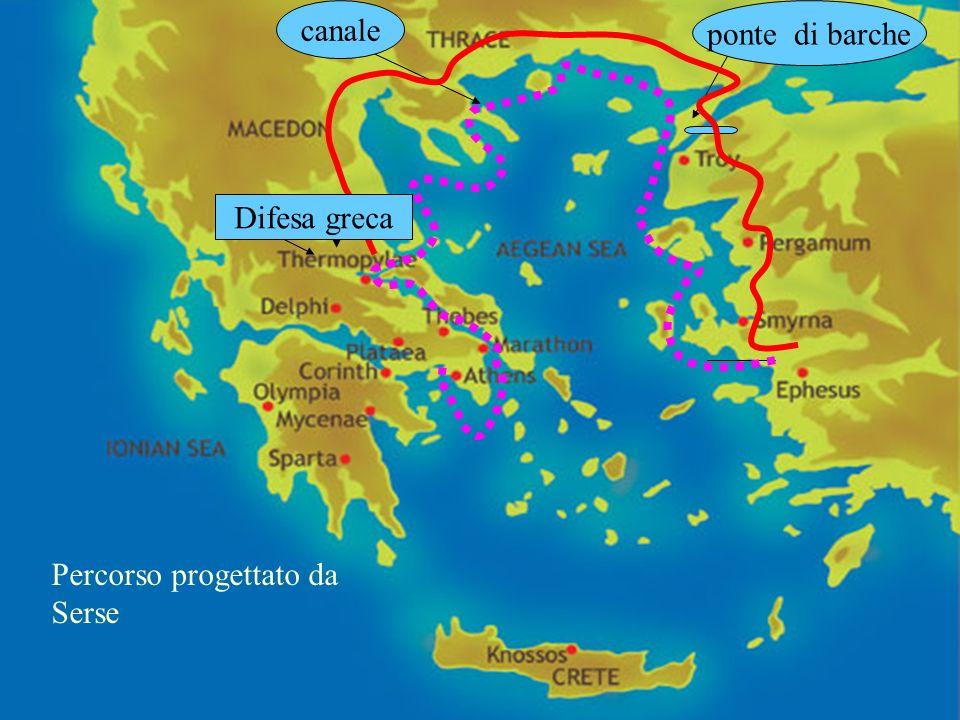 canale ponte di barche Difesa greca Percorso progettato da Serse