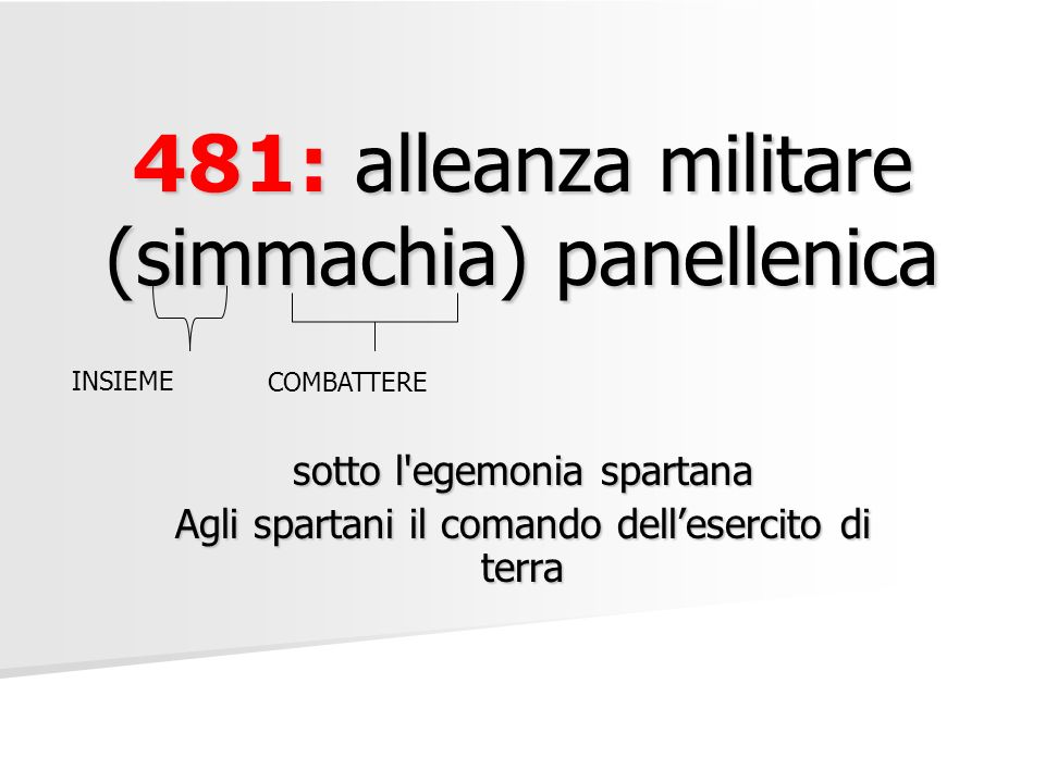 481: alleanza militare (simmachia) panellenica