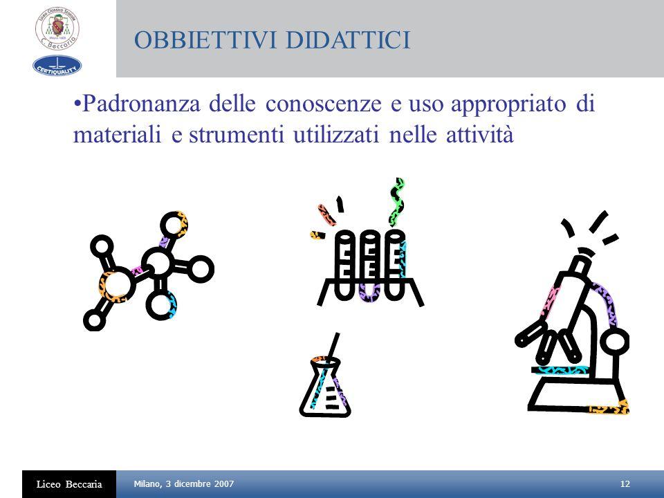 OBBIETTIVI DIDATTICI Padronanza delle conoscenze e uso appropriato di materiali e strumenti utilizzati nelle attività.