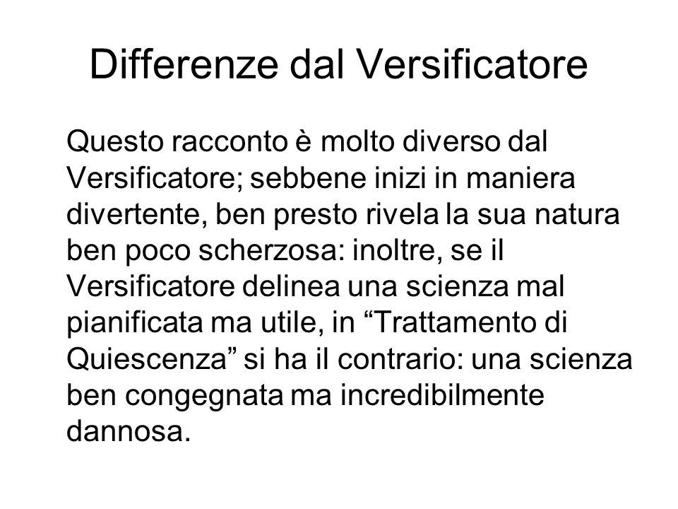 Differenze dal Versificatore