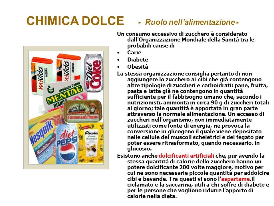 CHIMICA DOLCE - Ruolo nell'alimentazione -