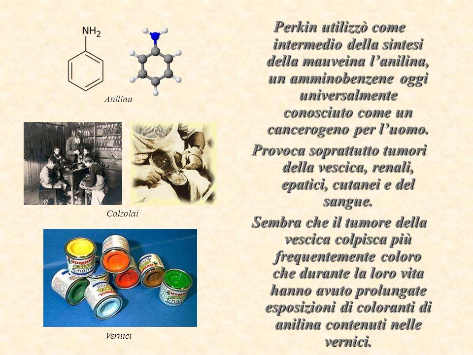 Perkin utilizzò come intermedio della sintesi della mauveina l'anilina, un amminobenzene oggi universalmente conosciuto come un cancerogeno per l'uomo.