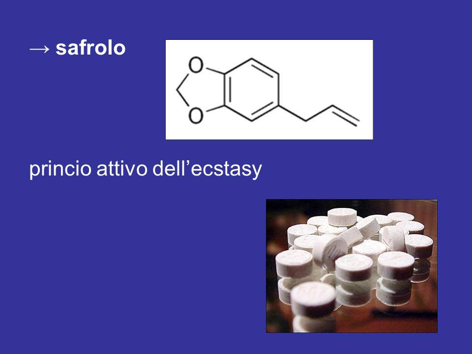 → safrolo princio attivo dell'ecstasy