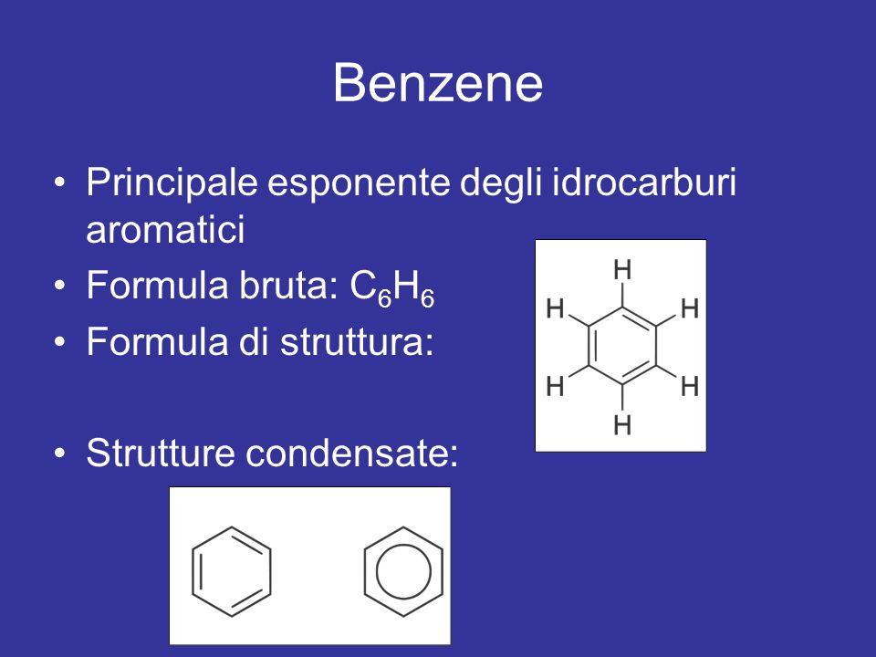 Benzene Principale esponente degli idrocarburi aromatici