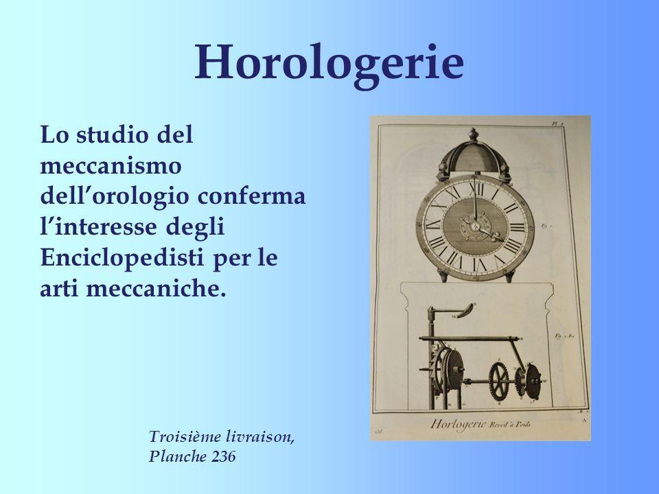 Horologerie Lo studio del meccanismo dell'orologio conferma l'interesse degli Enciclopedisti per le arti meccaniche.
