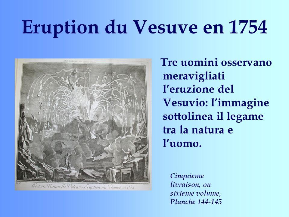 Eruption du Vesuve en 1754 Tre uomini osservano meravigliati l'eruzione del Vesuvio: l'immagine sottolinea il legame tra la natura e l'uomo.