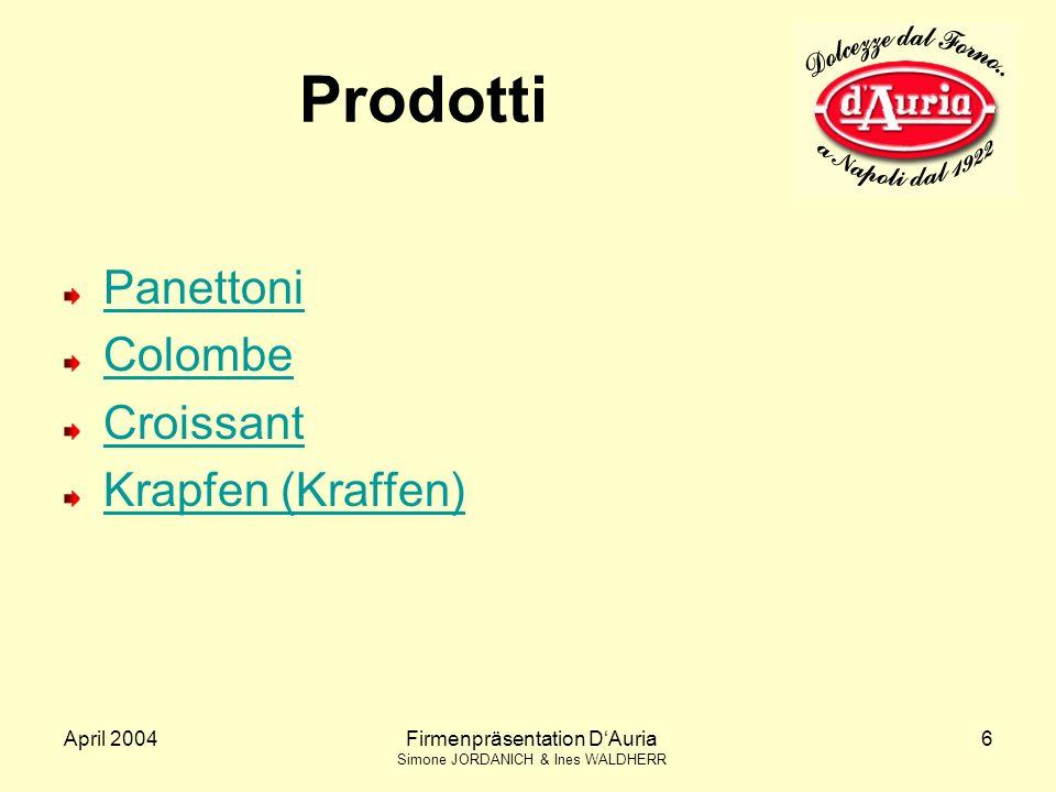 Prodotti Panettoni Colombe Croissant Krapfen (Kraffen) April 2004
