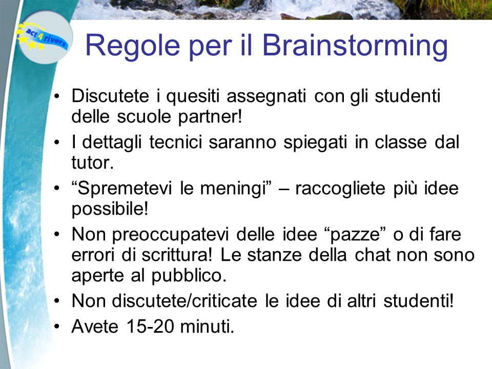 Regole per il Brainstorming