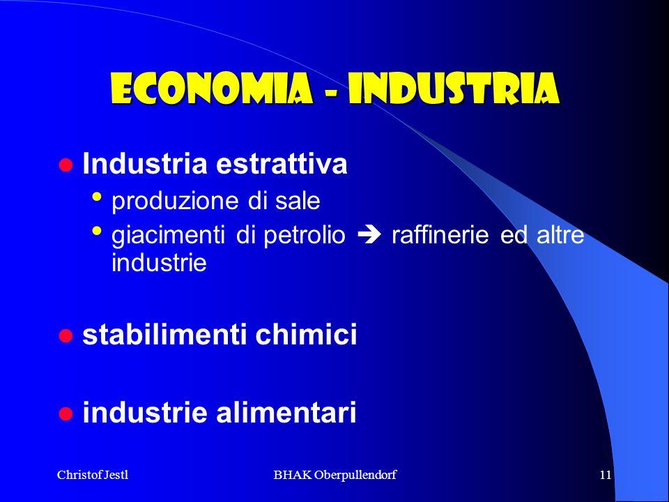 Economia - industria Industria estrattiva stabilimenti chimici