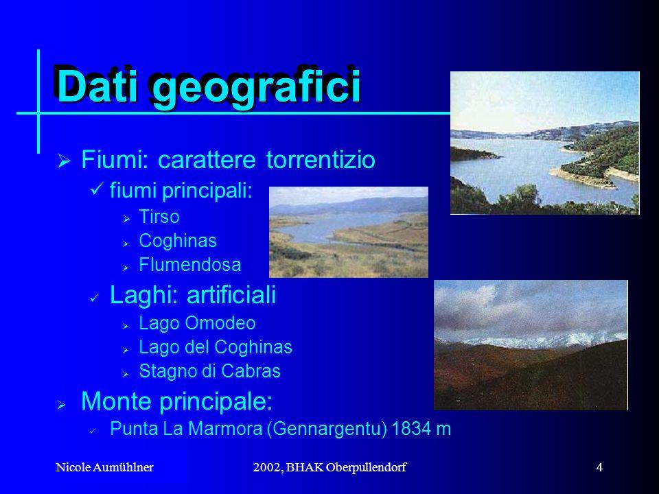 Dati geografici Fiumi: carattere torrentizio Laghi: artificiali