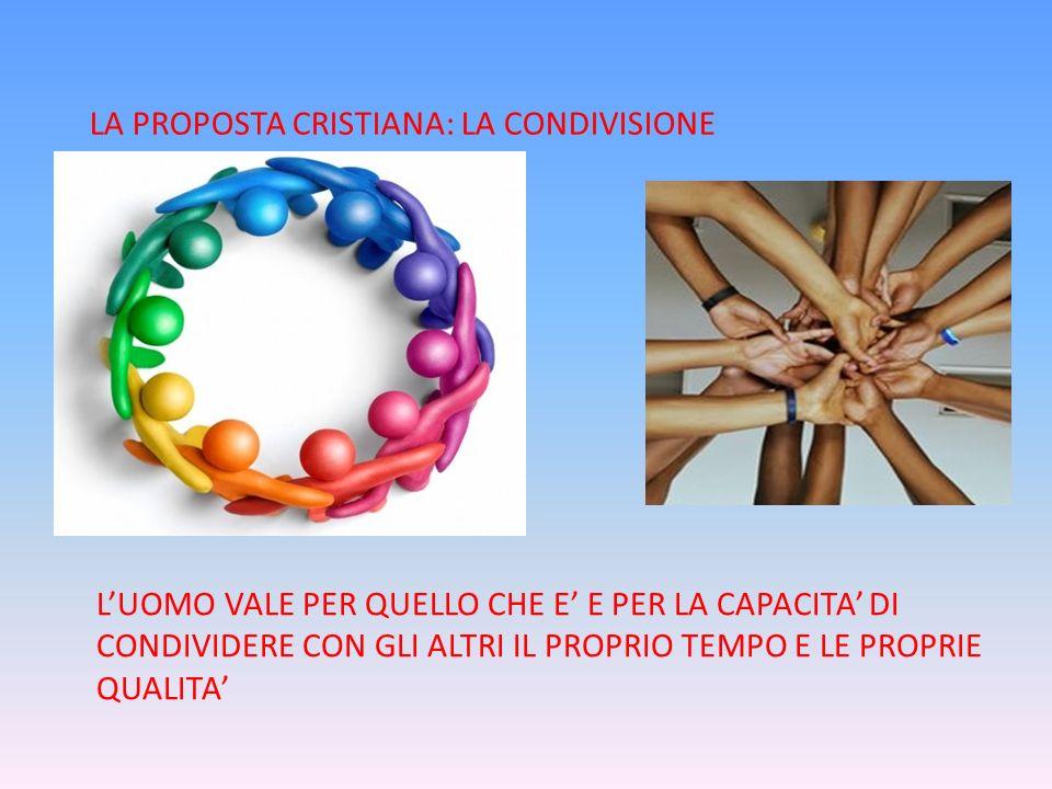 LA PROPOSTA CRISTIANA: LA CONDIVISIONE