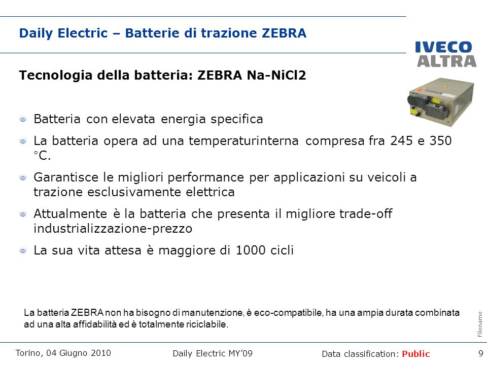 Daily Electric – Batterie di trazione ZEBRA