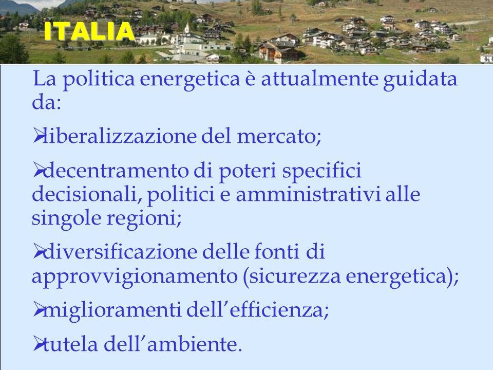 ITALIA La politica energetica è attualmente guidata da: