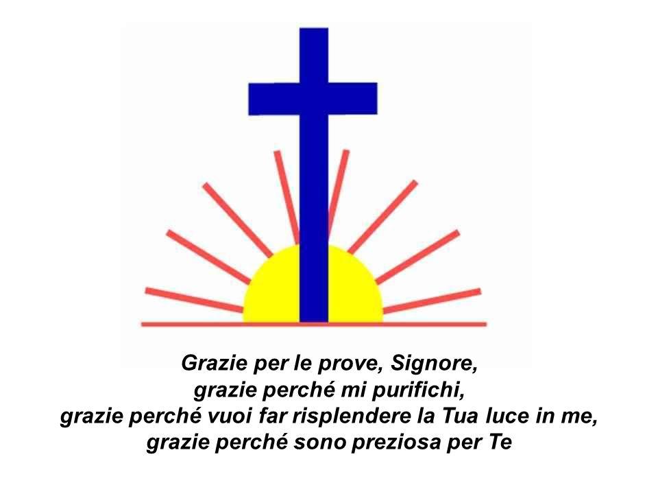 Grazie per le prove, Signore, grazie perché mi purifichi, grazie perché vuoi far risplendere la Tua luce in me, grazie perché sono preziosa per Te