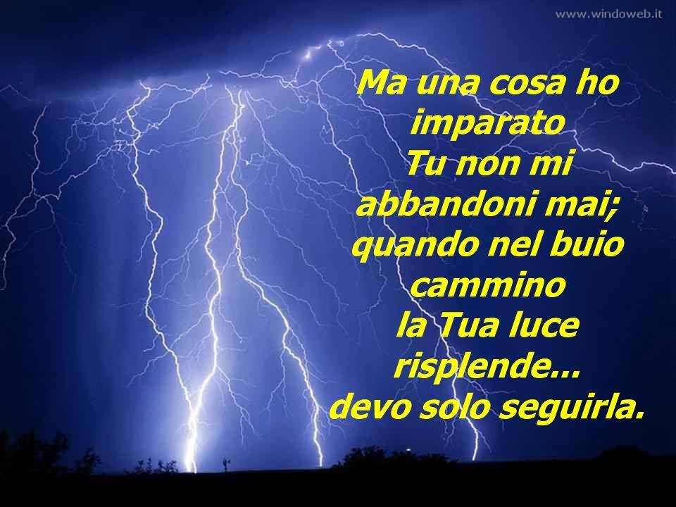 Ma una cosa ho imparato Tu non mi abbandoni mai; quando nel buio cammino la Tua luce risplende...